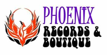 Phoenix Records & Boutique logo - A red and black artistic phoenix bird on a white background. To the right of the artist rendition of the phoenix the business name appears.