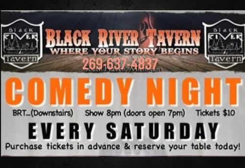 Poster of information for Black River Tavern Comedy Night - What to do in South Haven